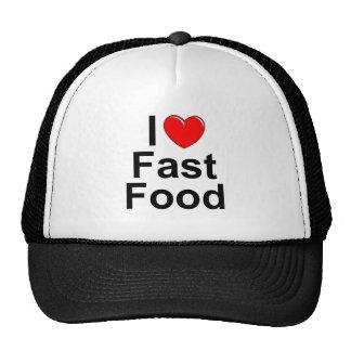 Amo (corazón) los alimentos de preparación rápida gorros bordados