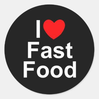 Amo corazón los alimentos de preparación rápida etiquetas redondas