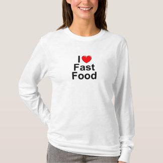 Amo (corazón) los alimentos de preparación rápida playera
