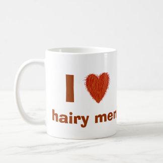 Amo (corazón melenudo) la plantilla divertida de l tazas de café