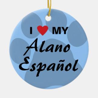 Amo (corazón) mi Alano Espanol Adorno Navideño Redondo De Cerámica