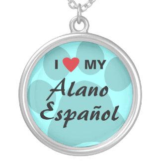 Amo (corazón) mi Alano Espanol Colgante Redondo