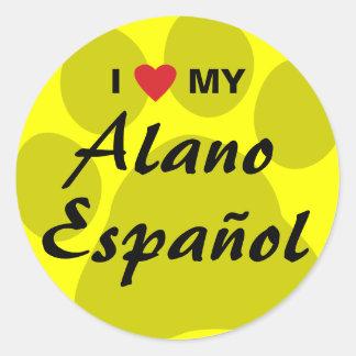 Amo (corazón) mi Alano Espanol Pegatina Redonda