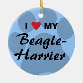 Amo (corazón) mi Beagle-Corredor de cross Adorno Navideño Redondo De Cerámica