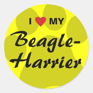 Amo (corazón) mi Beagle-Corredor de cross Pegatina Redonda