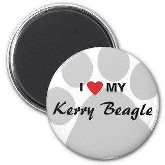 Amo (corazón) mi beagle Pawprint de Kerry Imán Redondo 5 Cm