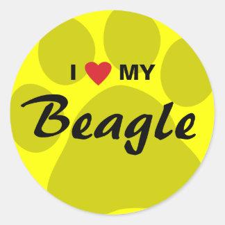 Amo (corazón) mi beagle Pawprint Etiquetas Redondas