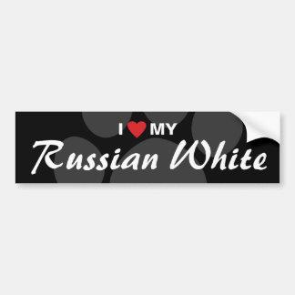 Amo (corazón) mi blanco ruso pegatina para auto