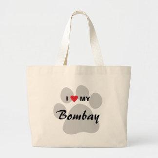 Amo (corazón) mi Bombay Pawprint Bolsa Tela Grande