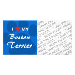 Amo (corazón) mi Boston Terrier Pawprint Tarjetas Fotograficas