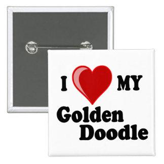 Amo (corazón) mi botón de oro del perro del Doodle Pins