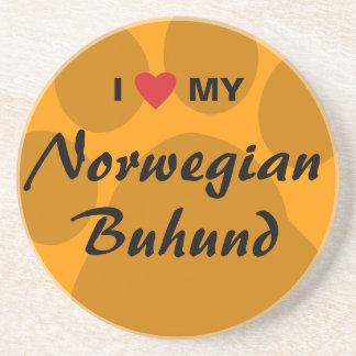 Amo (corazón) mi Buhund noruego Posavasos Para Bebidas