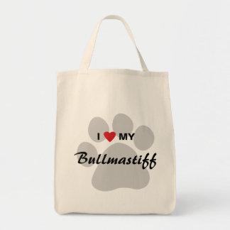 Amo (corazón) mi Bullmastiff Pawprint Bolsa Tela Para La Compra