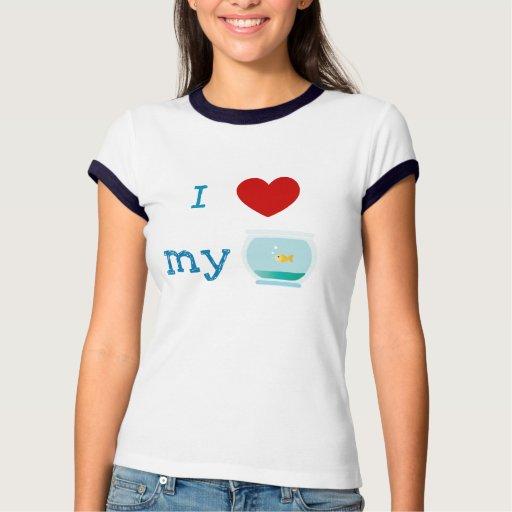 Amo (corazón) mi camisa de los pescados del oro