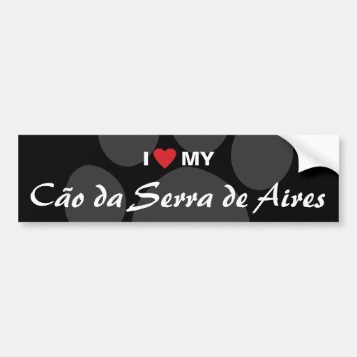 Amo (corazón) mi Cão DA Serra de Aires Etiqueta De Parachoque