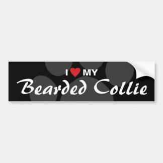 Amo (corazón) mi collie barbudo pegatina de parachoque