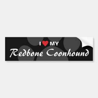 Amo (corazón) mi Coonhound de Redbone Etiqueta De Parachoque