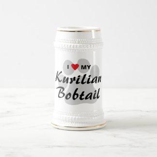 Amo (corazón) mi diseño Bobtail de Kurilian Pawpri Taza De Café