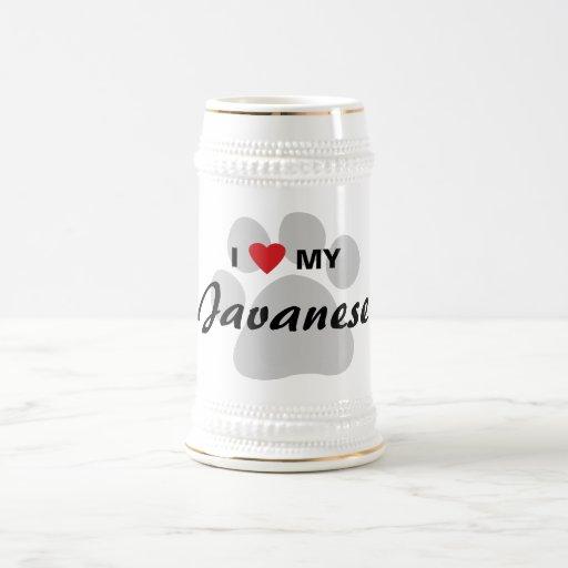 Amo (corazón) mi diseño de Pawprint del gato del J Tazas