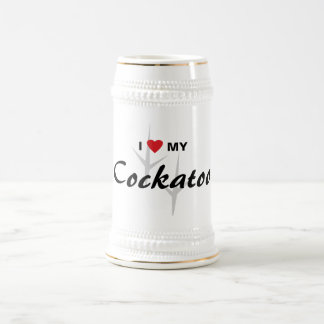 Amo (corazón) mi diseño de pistas del pájaro del jarra de cerveza