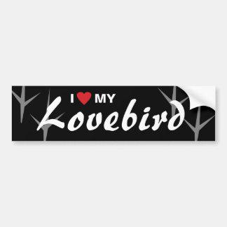 Amo (corazón) mi diseño de pistas del pájaro del pegatina para auto