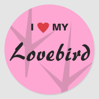 Amo (corazón) mi diseño de pistas del pájaro del pegatina redonda