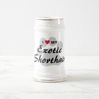 Amo (corazón) mi diseño exótico de Shorthair Pawpr Tazas De Café