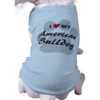 Amo (corazón) mi dogo americano playera sin mangas para perro