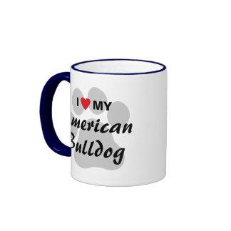 Amo (corazón) mi dogo americano tazas