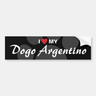 Amo (corazón) mi Dogo Argentino Etiqueta De Parachoque