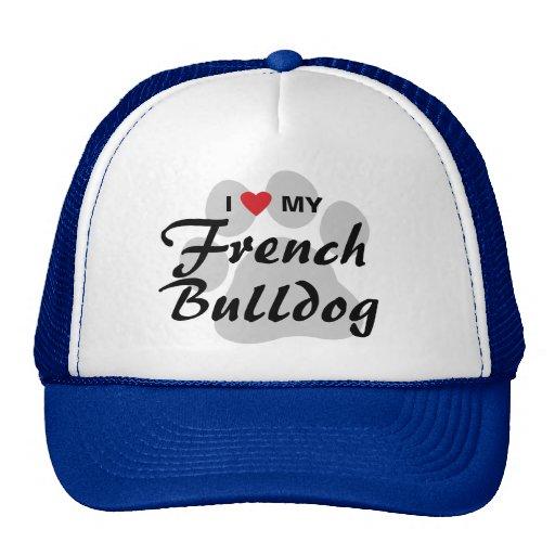 Amo (corazón) mi dogo francés Pawprint Gorra