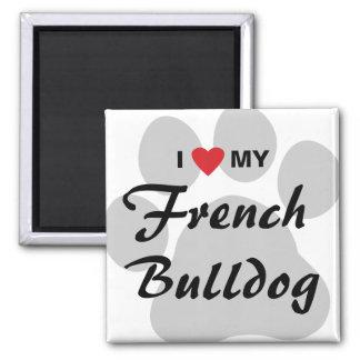 Amo (corazón) mi dogo francés Pawprint Imán Cuadrado