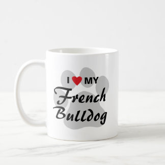 Amo corazón mi dogo francés Pawprint Tazas De Café