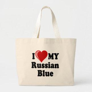 Amo (corazón) mi gato azul ruso bolsa tela grande
