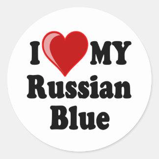 Amo (corazón) mi gato azul ruso pegatina redonda