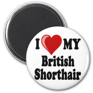 Amo (corazón) mi gato británico de Shorthair Imán Redondo 5 Cm