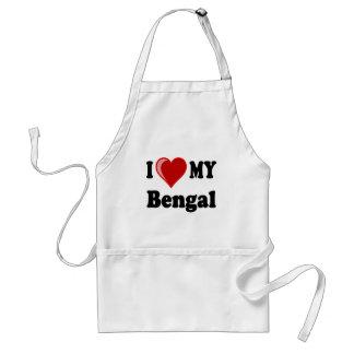 Amo (corazón) mi gato de Bengala Delantal