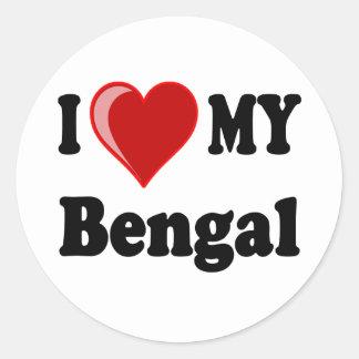 Amo (corazón) mi gato de Bengala Pegatina Redonda