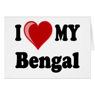 Amo (corazón) mi gato de Bengala Tarjetas