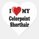 Amo (corazón) mi gato de Colorpoint Shorthair Calcomania De Corazon
