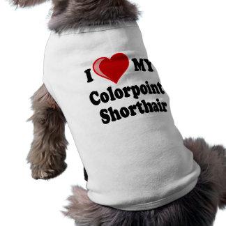 Amo (corazón) mi gato de Colorpoint Shorthair Playera Sin Mangas Para Perro
