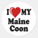 Amo (corazón) mi gato de Coon de Maine Pegatinas Redondas