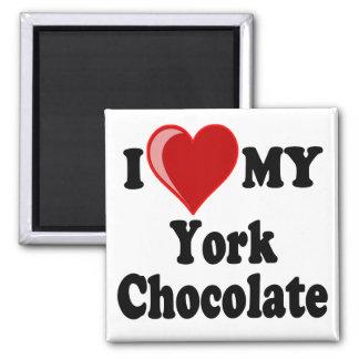 Amo (corazón) mi gato del chocolate de York Imán Cuadrado