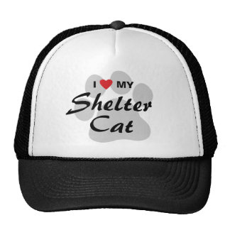 Amo (corazón) mi gato del refugio gorros