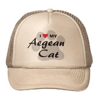 Amo (corazón) mi gato egeo Pawprint Gorros