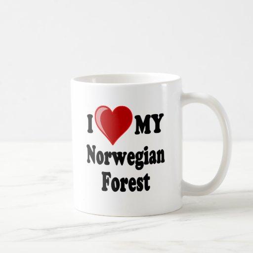 Amo (corazón) mi gato noruego del bosque taza