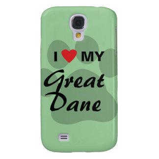 Amo (corazón) mi great dane Pawprint Carcasa Para Galaxy S4
