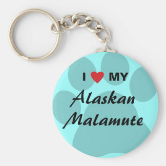 Amo (corazón) mi Malamute de Alaska Llavero Redondo Tipo Pin