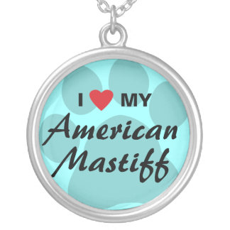 Amo (corazón) mi mastín americano colgante redondo