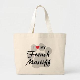 Amo (corazón) mi mastín francés Pawprint Bolsa Lienzo